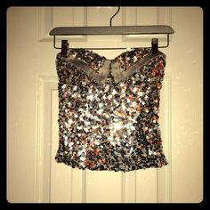 Cute tube top  Sexy Silver, sequins tube top...only worn once... Tops