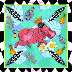Royal Hippos silk scarf