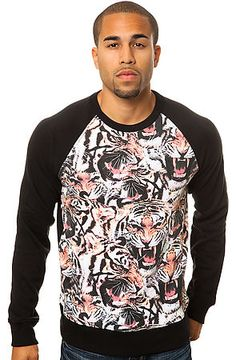 Born Fly Sweatshirt Angry Tiger Crewneck in Black