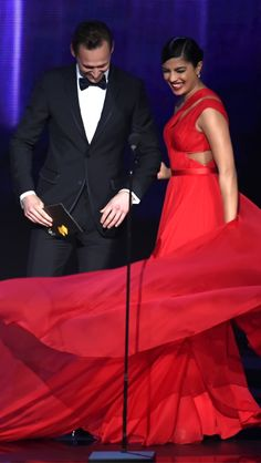Tom Hiddleston and Priyanka Chopra onstage to present Outstanding Directing for a Limited Series, Movie or Dramatic Special during the 68th Annual Primetime Emmy Awards at Microsoft Theater on September 18, 2016 in Los Angeles, California. Via Torrilla. Click here for full resolution: http://ww4.sinaimg.cn/large/6e14d388gw1f7yqanr4utj22bc1ly4qp.jpg
