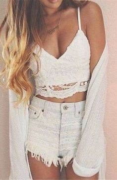 Lace bralette because crop tops are cute to wear all day everyday