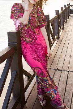 Ethnic Print V Neck Short Sleeve Maxi Dress