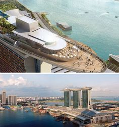 On the top of three skyscrapers, 656 feet in the air, Singapore boasts a 1,246-foot-long rooftop deck by architect Moshe Safdie offering an incredible view of Marina Bay