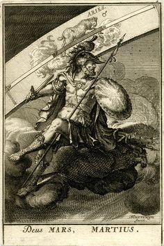 Placa 4: marzo.  El dios romano Marte sentado en una nube en el centro, en la armadura y la celebración de una espada y una lanza;  el signo zodiacal de Aries más allá.  1698 Grabado