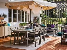 Shop IKEA's wide selection of outdoor accessories, balcony furniture, and patio furniture. Shop looks for any size outdoor space. Outdoor Table Tops, Outdoor Chairs, Outdoor Decor, Table Furniture, Outdoor Furniture, Grey Stain, Parasol, Types Of Wood, Decoration