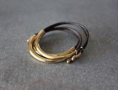 Deep Gold Plated Leather Bracelet