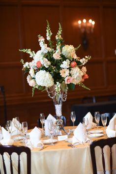 Ivory linen with gold organza square overlay and glass vase centerpiece with crystals and assorted floral   One Fine Day Photography   villasiena.cc