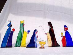 Nativity Set 6 piece Stained Glass by GlassworkByME on Etsy