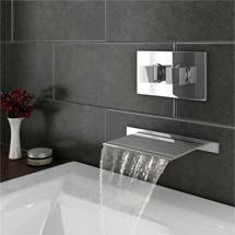 Love this stylish look! Plaza Wall Mounted Waterfall Bath Filler with Concealed Thermostatic Valve