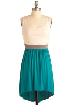 Cloud Surfing Dress - Short, Casual, Green, Tan / Cream, Color Block, Twofer, Tank top (2 thick straps)