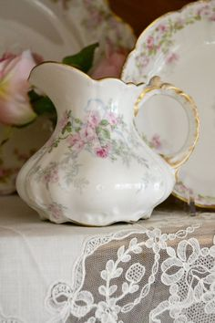 Gorgeous Large Antique Limoges Porcelain Creamer by Jenneliserose