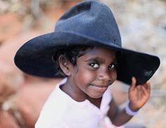 Cute Aborigine boy in a cowboy hat (Australia) 76054b927dee