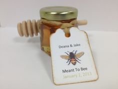 100 Qty Meant To Bee Honey Wedding Shower Favors With Dipper & Personalized Tags. $300.00, via Etsy.
