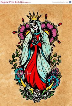 SALE Day of the Dead Virgen de Guadalupe Old School Tattoo Art Virgin Mary Print 5 x 7 or 8 x 10
