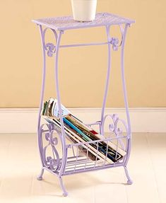 $20, aqua, lilac or antique white. Could use on bathroom counter for towel and magnifying mirror on top. Punched Metal Bathroom Stands