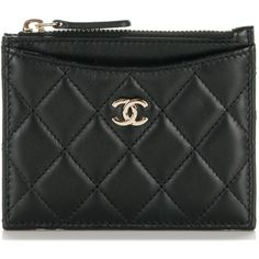 CHANEL Lambskin Quilted Card Holder Black ❤ liked on Polyvore featuring bags, wallets, lamb leather bag, quilted bag, chanel, logo bags and lambskin bag