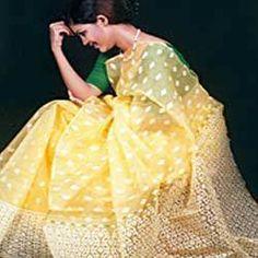 A lemon Dhakai muslin silk jamdani