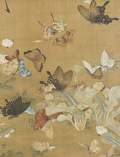 Unknown (Chinese)  Butterflies  18th -19th century  Tags: artpaintingsilk