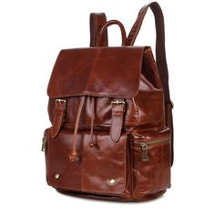 139.06$  Buy here - http://alihm5.worldwells.pw/go.php?t=32345629495 - Fashion Genuine Leather Unisex Bookbag Schoolbag Weekend Hiking Backpack Bag For Men and Women Red Brown # PR087249B 139.06$