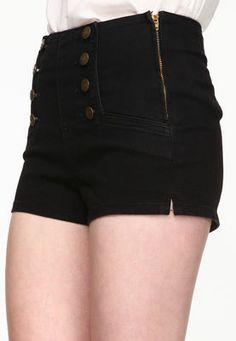 Black Matelot Shorts, high waisted, buttons