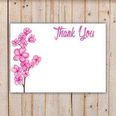 Digital Thank You Card Pink Watercolor Flowers by doodlingpeapod on Etsy https://www.etsy.com/listing/238904208/digital-thank-you-card-pink-watercolor