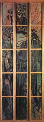 Casimir the Great by Stanislaw Wyspianski, Pastel, 436 x 148 cm National Museum, Krakow, Poland Ghost of our king. Art Nouveau Illustration, Stained Glass Projects, Classical Art, National Museum, Stained Glass Windows, Art Forms, Fountain, Pop Art, Cathedral