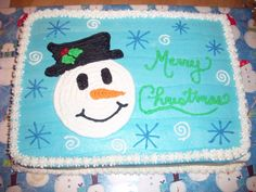 Snowman Sheet Cake I copied this from someone on this site. Christmas Cake Designs, Christmas Cake Pops, Christmas Sweets, Christmas Goodies, Christmas Baking, Sheet Cakes Decorated, Sparkle Cake, Birthday Sheet Cakes, Sheet Cake Recipes