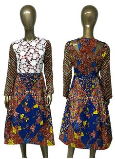 AYAWAX Collection. African Print Fitted Waist by NanayahStudio