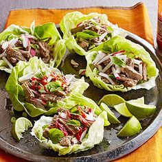 Gluten Free Pho-Flavor Flank Steak Lettuce Wraps From Better Homes and Gardens, ideas and improvement projects for your home and garden plus recipes and entertaining ideas.