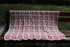 Crochet Pink and Vanilla Blanket Granny Square by Columbinecrochet