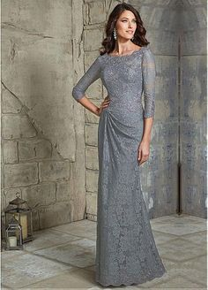 Elegant Lace Bateau Neckline Sheath Mother of The Bride Dress with Beaded Lace Appliques