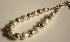 Pearl Sterling Silver Necklace Adjustable Pearl by QuietMind