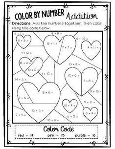 Valentine S Day Color By Number Differentiated Addition Freebie Math Valentines Valentine Math Worksheet Valentines School