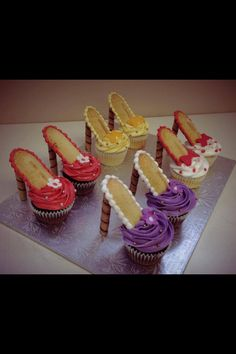 High heel cupcakes! Such a cute idea for a bachelor party or other girly event :)