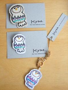 kyao 刺繍ブローチ | shironeko