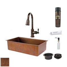 Premier Copper Products 19-in x 33-in Antique Copper 1-Basin Copper Undermount-Hole Kitchen Sink with Faucet Set