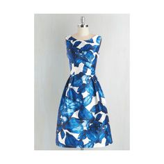 Long Sleeveless Fit & Flare All is Palm Dress ($100) ❤ liked on Polyvore featuring dresses, apparel, blue, palm tree dress, low cut back dress, blue fit and flare dress, palm print dress and long day dresses