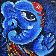 Check Out 25 Beautiful Paintings Of Lord Ganesha. Lord Ganesha has the head of an elephant and body of a human, and according to his stories, he was very mischievous in his childhood. Lord Ganesha Paintings, Ganesha Art, Watercolor Paintings Abstract, Painting & Drawing, Painting Tips, Painting Canvas, Acrylic Paintings, Watercolour, Shri Ganesh Images