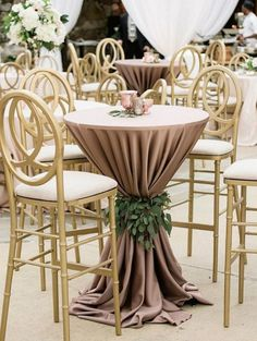 Keeping cocktail hour on the terrace at in muted tones accented with gold metallic! Subtle sophistication goes a long way - agree or disagree? Cocktail Table Decor, Cocktail Tables, Engagement Decorations, Wedding Decorations, Wedding Table, Diy Wedding, Wedding Linens, Wedding Bells, Wedding Dresses