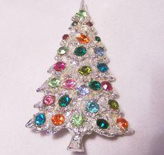 Vintage Rhinestone Christmas Tree Pin Brooch Multi Color Glass Stones