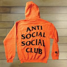 Paranoid AntiSocial Social Club Hoodie Anti Social by FamouLife (Orange - L)