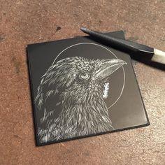 "Vicki Weight-Short (@eirlysandmayart) on Instagram: ""Raven #wip #progresspic #onmydesktoday #corvid #etching #eirlysandmayart"""