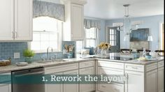 Ideas for a Hardworking Kitchen These cabinets look white with a grey antique finish. I like the blue accents too.