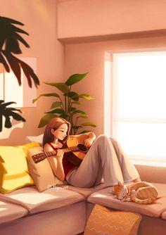 Guitar Drawing, Digital Art Girl, Me Me Me Song, Cute Illustration, Playing Guitar, Girl Cartoon, Music Lovers, Aesthetic Art, Cute Art