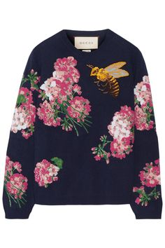 Gucci | Embroidered intarsia wool sweater | NET-A-PORTER.COM