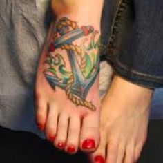 Foot tattoo/ anchor