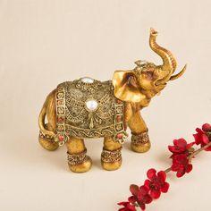 FashionCraft Large Golden Decorative Elephant Figurine