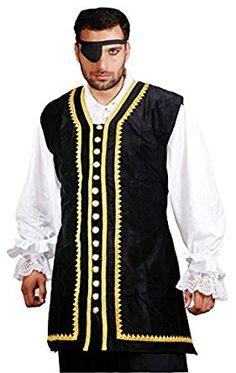 Pirate Captain Peter Raven Black Cotton Velvet Vest - Deluxe Adult Costumes