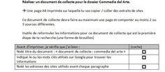 Fiche de consigne pour le document de collecte (6e)