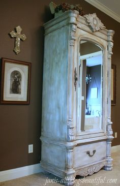 Let's just say, any furniture in my house that has a wood finish....  IS NOT SAFE!  I loved transforming this wood armoire into this laye...